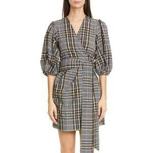 NWT GANNI Check Seersucker Puff Sleeve Wrap Dress